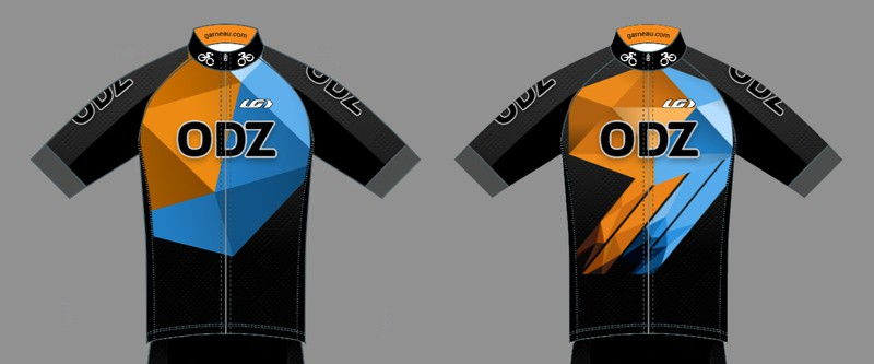 Front views of two different cycling jersey designs