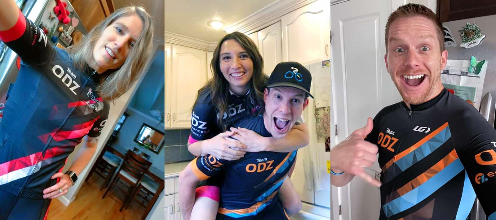 Happy cyclists wearing ODZ kit