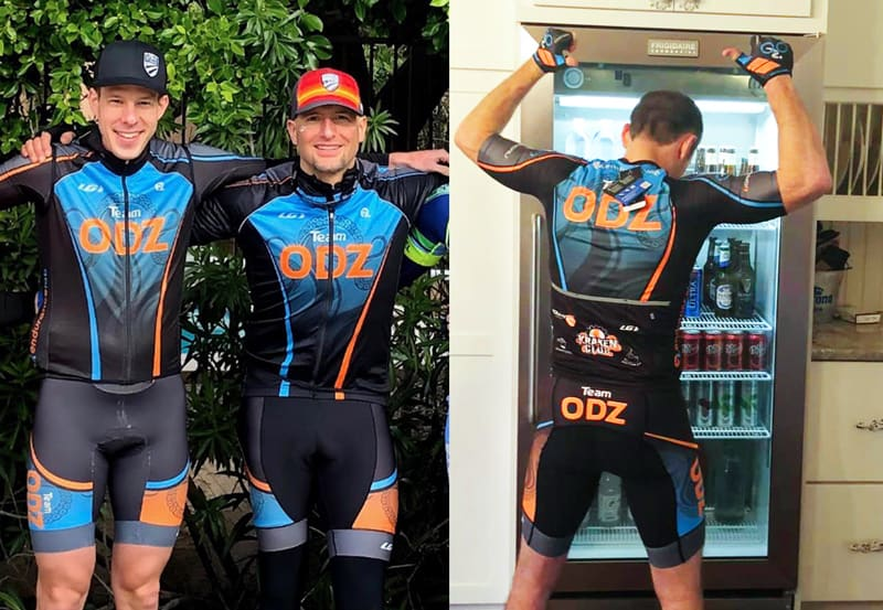 Front and back view of cyclists wearing ODZ kit
