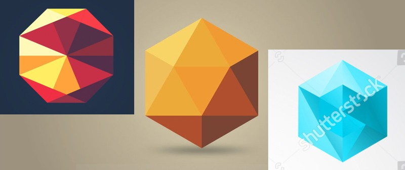 Mood board of low-poly design