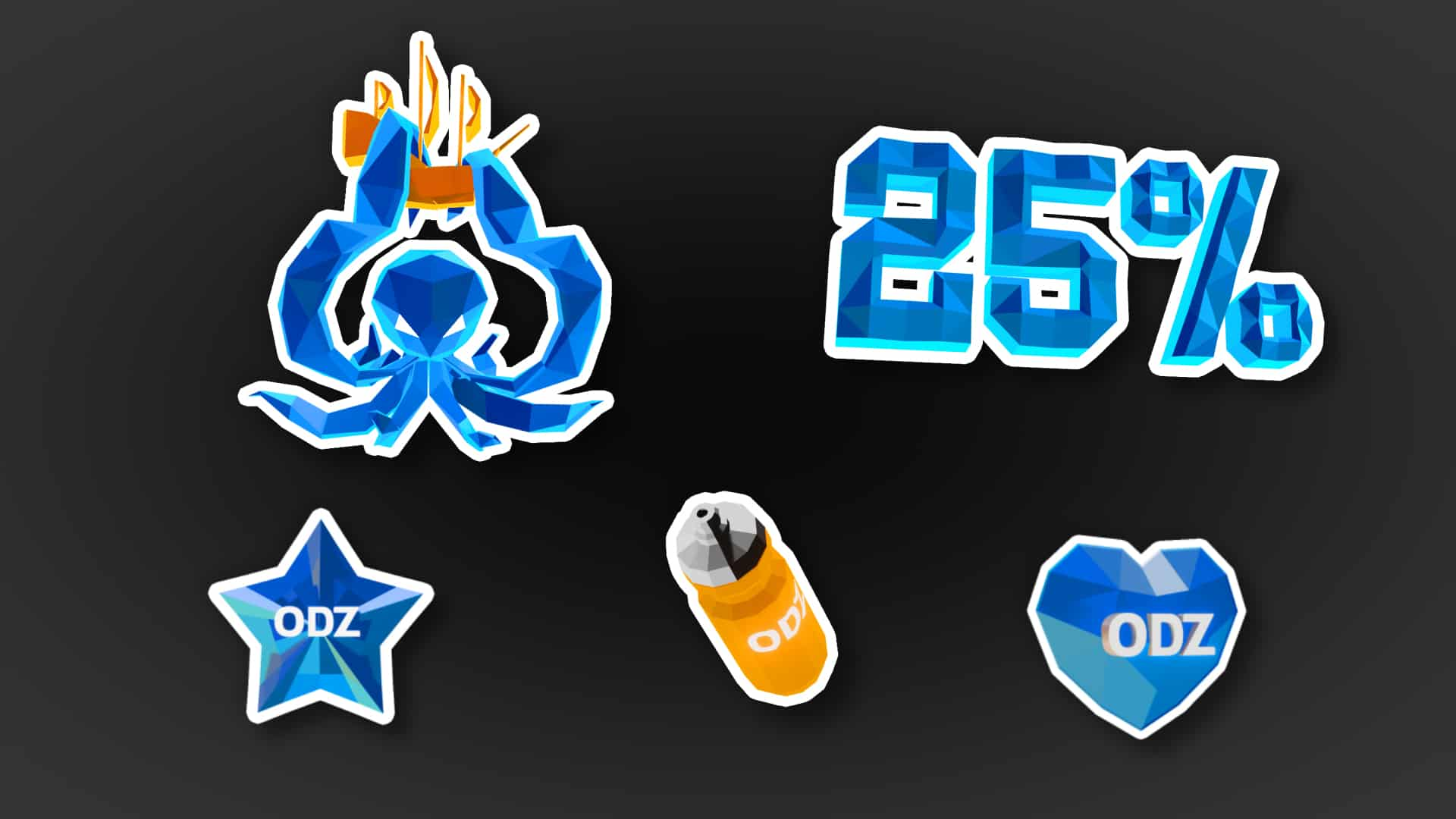 ODZ low-poly graphics: kraken, 25%, star, bidon, heart