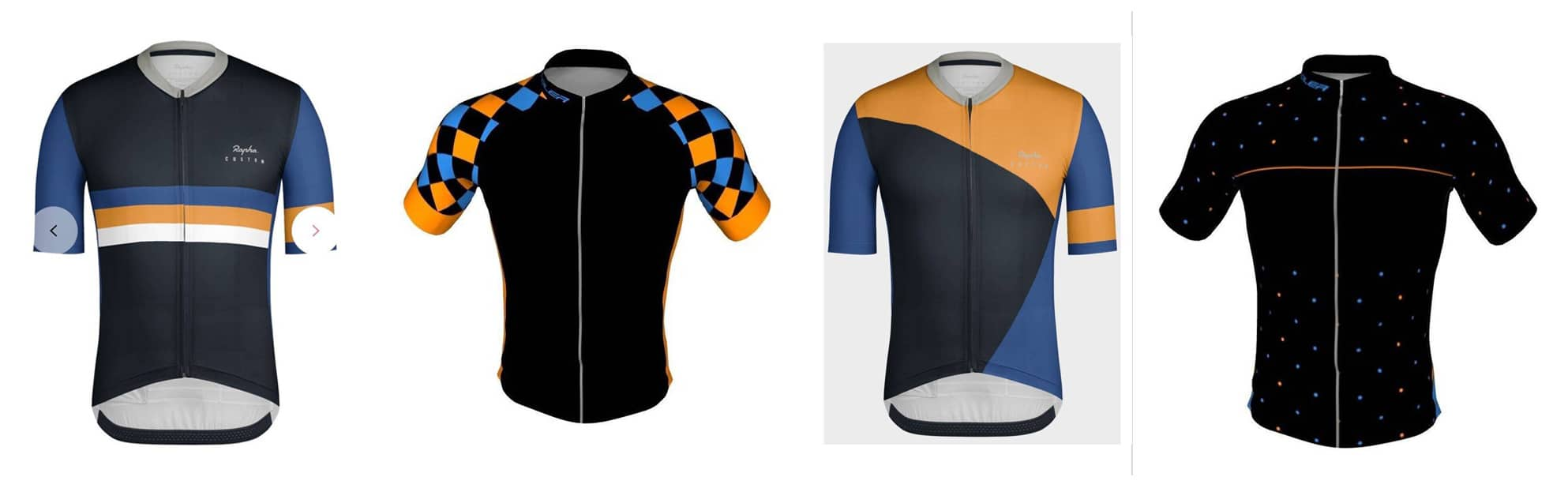 Lineup of basic cycling jersey designs